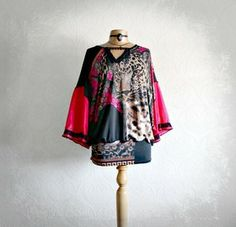 Hot Pink Animal Print Boho Chic Top Hippie Clothing Festival Clothes Eco Friendly Shirt XL