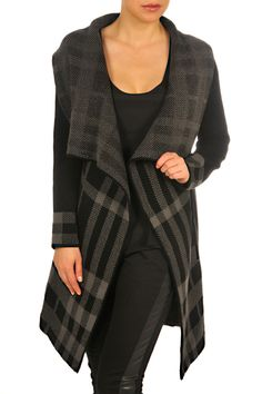F3023107-Black_Grey-front. Fall Collections, Classic Looks, New Trends, Duster Coat, Black And Grey, Plaid, Clothes For Women, Pretty, Sweaters