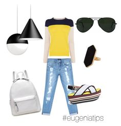 """""""yellow"""" by eugeniamolina on Polyvore featuring Bebe, Marni, Jaeger and Ray-Ban"""