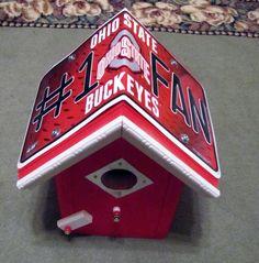 Ohio State Buckeyes Birdhouse - #1 Fan License Plate Collegiate Birdhouse - Team Bird House by FurTheBirds on Etsy