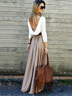 0cd49339cf5 Sexy Split Joint Long Sleeve Round Neck Off-Back Loose Maxi Dress