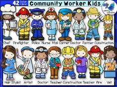 This set contains 21 different community helper jobs, including most with both a boy and girl represented. Community Helpers For Kids, Community Helpers Worksheets, Community Workers, Childhood Education, Kids Education, Kindergarten Activities, Preschool Crafts, Helper Jobs, Jobs In Art