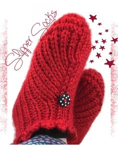 Ruby Red Slipper socks hand knit with black polkadot buttons and ruffle crochet edge made in Caron Simply Soft yarn Harvest Red #cpromo