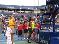 8/11/15 Rena wins their 2nd rd battle 2-6, 6-3, 6-0. .. <3 Top-Seed Serena Williams in dk yellow & gray - Flavia Pennetta in gold & lt gray.