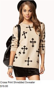 Cross Print Shredded Sweater #forever21 #clothes #outfits