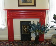 Shabby RED BLOSSOM Chic Fireplace Mantel Headboard by picks4u, $925.00  Want in white.