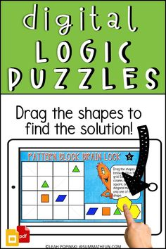 """This is the perfect resource to engage your students in digital math challenges created in Google Slides™! It can easily be added to your Google Classroom and Google Drive. Or, choose the Just Print version for hands-on learning using Pattern Blocks. Your kids will love these! Challenging plus tons of fun to solve. No more, """"I'm done!"""". No more, """"I'm bored!"""". Paperless or Just Print versions of Sudoku-like logic puzzles!"""
