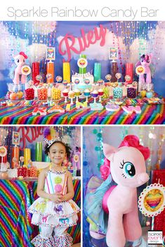 | Sparkle Rainbow Candy Table – My Little Pony party theme | http://soiree-eventdesign.com