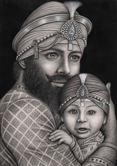 Guru Gobind Singh Ji, had 4 sons in total who were all martyred at a young age. So this drawing was quite emotional for me as it is a father and son piece trying to capture the love between parent and child. This depicition of Guru Gobind Singh is when he is quite young at the age of 22, when he had his first son 'baba ajit Singh' who is supposed to be about 6 months old in this drawing.