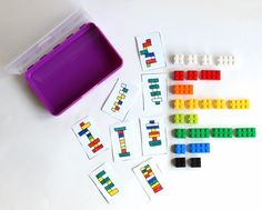 diy portable lego/duplo kit with 24 free printable activity cards Travel Activities, Toddler Activities, Preschool Activities, Creative Activities, Lego Club, Lego Duplo, Legos, Lego Challenge, Challenge Cards