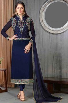 Navy Blue Georgette Churidar Suit With Dupatta  http://www.andaazfashion.co.uk/salwar-kameez/churidar-suits