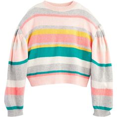 Striped Pullover (£325) ❤ liked on Polyvore featuring tops, sweaters, sweater pullover, stripe sweaters, striped sweater, striped pullover sweater and white sweater
