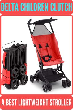 """Delta Children Clutch Stroller is recommended us for children up to 50 lbs and it meets Disney size requirements. It is an extremely lightweight stroller weighs only 11.7 lbs. Its folded dimension 15""""x5.9""""x19.7"""" fits in overhead compartment of most plane.  #deltachildrenstroller #bestbabystroller #bestlightweightstroller #beststroller Best Lightweight Stroller, Best Baby Strollers, Delta Children, Travel System, Travel Bag, Plane, Infant, Disney, Kids"""