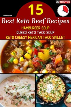 Easy Keto Beef Meals -- Hamburger Soup, Queso Keto Taco Soup, Keto Cheesy Mexican Taco Skillet -- Try these delicious and mouth watering seafood recipes for your next family dinner. #hotbodzone