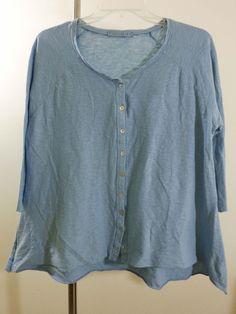 Cut Loose blouse lagenlook designer artsy top art to wear blue upscale sz M #CutLoose #Blouse #Career