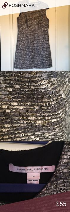 DVF gold-flecked sheath Dress - size 14 Diane von furstenberg gold-flecked Black And white dress in size 14. Has pockets! Very warm and structured sheath dress. Lined. Gently used. Diane Von Furstenberg Dresses
