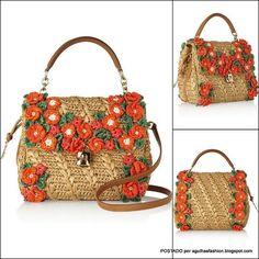 Crochet bag // Dolce & Gabbana Handbags Main color: Camel, Multicolor, Light Brown Materials: Straw, Cotton, Metal