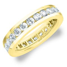 18K Yellow Gold Men's Diamond Eternity Ring (3.0 cttw, G-H Color, SI1-SI2 Clarity)