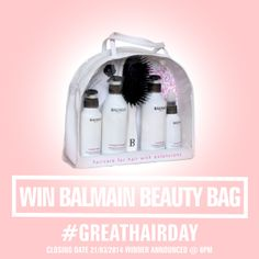FOR YOUR CHANCE TO WIN: PIN IT TO WIN IT! This March we're giving away an amazing Balmain Hair Care Set full of all everything you'll need to keep your locks looking luscious. The Balmain's Beauty Bag has a full range of hair care goodies including Shampoo, Conditioner, Hair mask, Shine spray and a Soft bristle brush. So what are you waiting for? Winner will be announced 21/03/2014 18:00 (GMT)