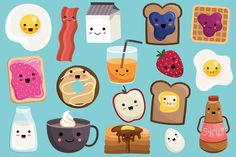Cute Breakfast Food Vector & PNG Set by Kenna Sato Designs on Creative Market