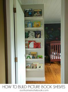 DIY picture book shelves for the kids bedroom.