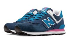 574 New Balance, Blue with Pink Glo & White