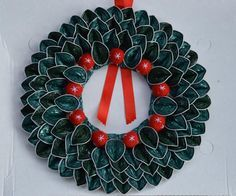 Christmas wreath made with Nespresso capsule