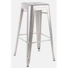 Stella Metal Cafe Bar Stool in Brushed Galvanized Finish