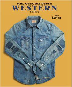 Mens Fashion Rugged – The World of Mens Fashion Denim Vintage, Vintage Shirts, Denim Shirt Men, Denim Top, Casual Shirts For Men, Men Casual, Western Shirts, Sports Shirts, Denim Fashion
