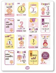 ~~pinned from site directly~~ . . .Baby Girl Growth Planner Stickers for Erin Condren by PlannerPenny