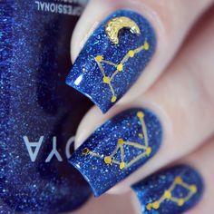 Constellation Nail Art ~ Glitterfingersss in english
