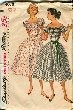 Simplicity 4638 UNCUT Vintage 1950s Dress Rockabilly Pattern
