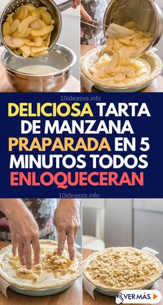 Prepara esta deliciosa tarta de manzana en segundos - 10 Ideas Apple Recipes, Cake Recipes, Dessert Recipes, Healthy Recipes, Desserts, Sweet Bakery, Recipe For 4, Sin Gluten, Easy Cooking