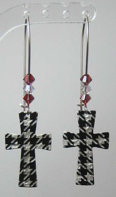 c36d095c525 Alabama Houndstooth Cross Earring with Swarovski Crystals.  15.00