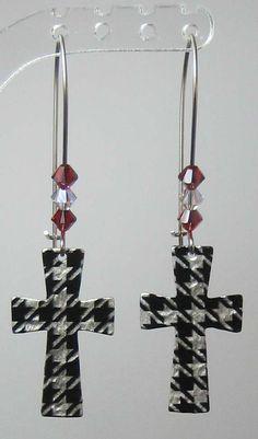 Alabama  Houndstooth Cross Earring with Swarovski Crystals. $15.00, via Etsy.