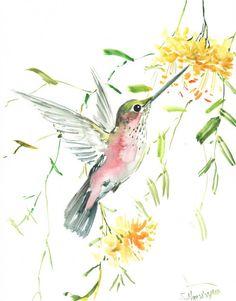 Hummingbird Oriignal watercolor painting 14 X 11 by ORIGINALONLY, $48.00
