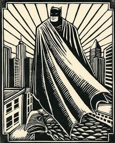 Batman Linoleum Block Print
