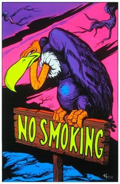 No Smoking Vulture College Blacklight Poster 24x36 - Poster Foundry