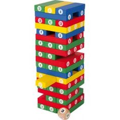 Build the tower, roll the dice and select the corresponding brick. Just make sure your tower doesn't wobble and fall. Cheerful bright colours and large numerals. Jenga, Chess Store, Luxury Chess Sets, Tower Games, Toy Craft, Tour, Wooden Toys, Bunt, Montessori