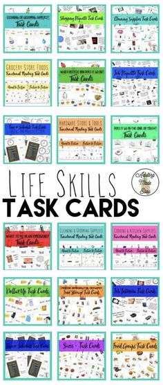 Life Skills Task Clip Cards #moneymath #functionalacademics #safety #vocational #IndependentLiving #socialskills #nutrition #cooking #cleaning #reading #recycling #specialeducation #sped