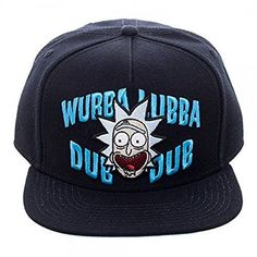 Cap design features Rick and Morty embroidered on a high quality Flat Bill  Snapback Cap. 82fb055927b7