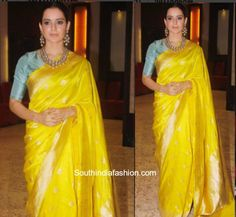 On her recent trip to Varanasi, actress Kangana Ranaut was seen in bright yellow banarasi saree by Raw Mango. Indian Saris Click above VISIT link to see Chanderi Silk Saree, Kanchipuram Saree, Silk Sarees, Sabhyasachi Sarees, Drape Sarees, Raw Silk Saree, Cotton Saree, Sari Design, Red Wing Boots