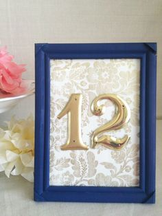 Navy Blue Reception Table Numbers. $130.00, via Etsy. Wait- WHAT? Seriously $130?! What is wrong with people?