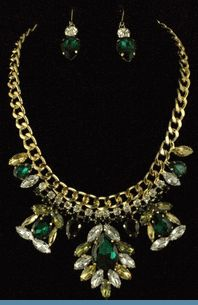 Art Deco Hunter Green, Lime Green, Yellow & Clear Rhinestone Necklace with Earrings Accented in Goldtones
