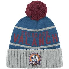 45da444f958 Colorado Avalanche Mitchell   Ness Vintage 2001 Championship Cuffed Knit Hat  with Pom - Navy Gray