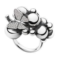 MOONLIGHT GRAPES ring - oxideret sterlingsølv og 18 karat hvidguld med brillantslebne diamanter, stor