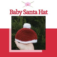 Baby Christmas Hat, Baby Santa Hat, Crochet Baby Hats, Baby Blanket Crochet, Hand Crochet, Baby Pom Pom Hat, How To Make Scarf, Crochet Patterns For Beginners, Knitted Gloves