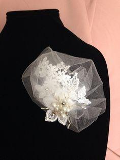 Handmade White lace bridal headpiece bridal by HandmadeByAnastasia, $12.00