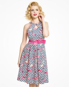 0364f8ab46  Cherel  1950s Inspired Cotton Swing Dress in Zig Zag Flamingo Print