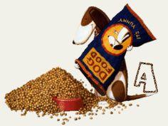 Alfabeto Animado de Perro sirviéndose su comida.
